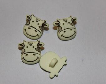 Ecru fancy children cow patterned button