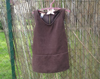faux brown suede girl pinafore dress