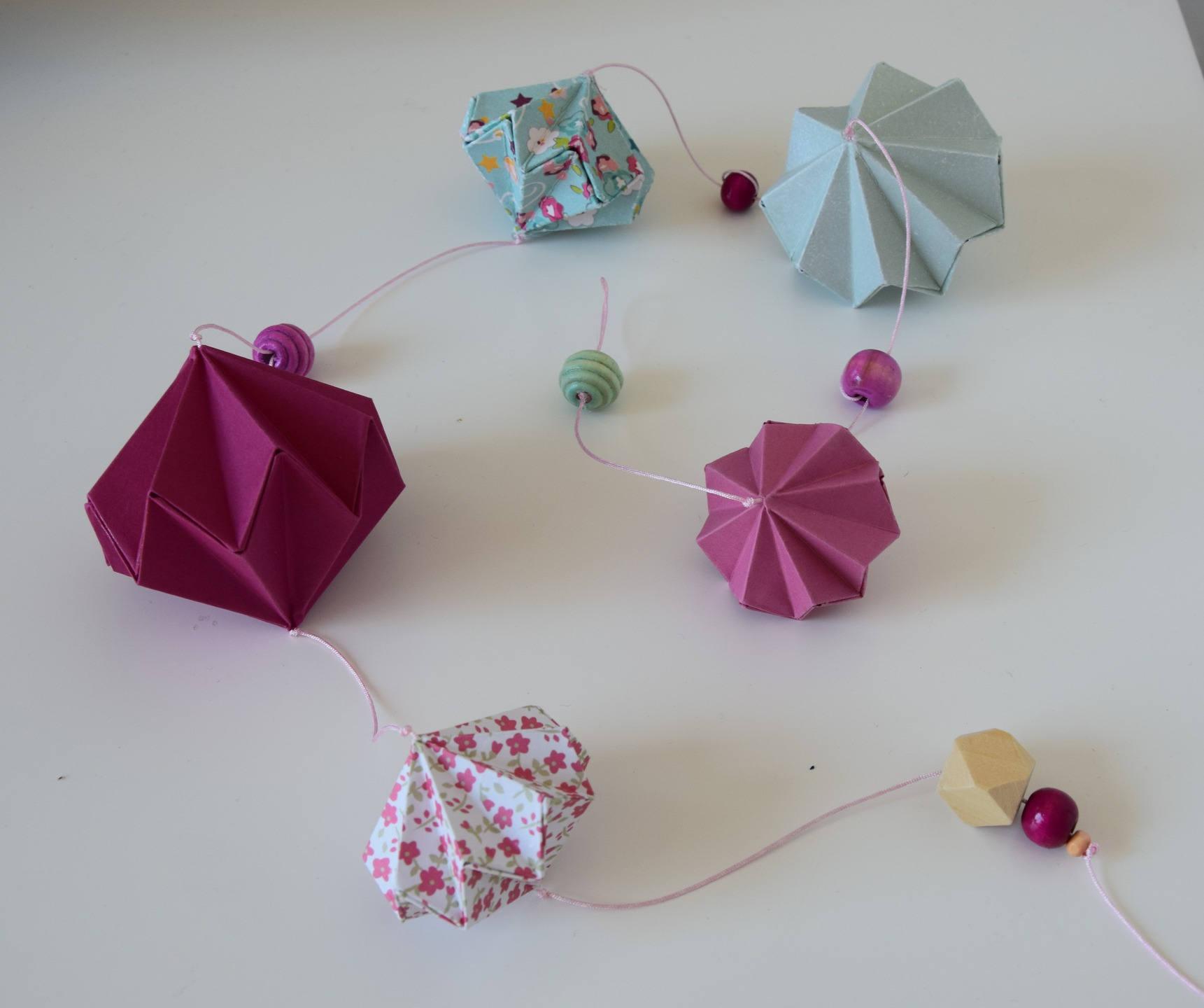 Guirlande origami diamant d coration murale fille - Origami decoration murale ...