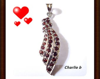 Silver 925 pendant encrusted with tiny garnets - natural stones - 50mm - black organza necklace