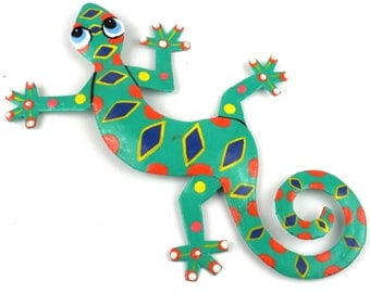 Recycled Metal Spotted Gecko Wall Art