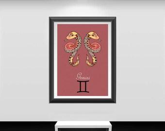 Gemini print, Gemini art, Gemini poster, zodiac wall hanging, zodiac wall decor, zodiac wall art, zodiac print, zodiac poster, zodiac Gemini