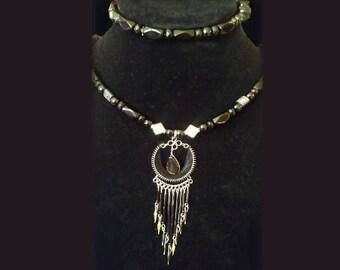Necklace and Bracelet set - black - 18' - 23' - glass beads - by Cringle