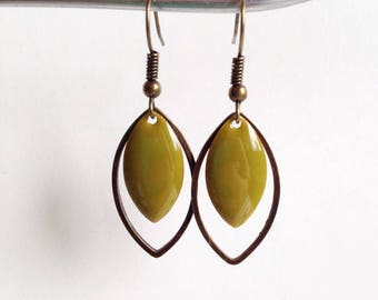 Earrings - shuttle - khaki Green