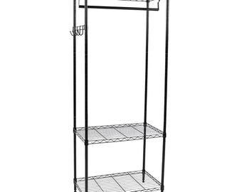 "Apollo Hardware Black 3-Shelf Wire Shelving Garment Rack 14""x24""x60"""