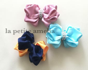 Peony Ribbon Clip/ Girls ribbon bow clip/ Kids hair bow/Handmade in Australia