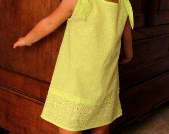 Dress cotton plumetis/embroidery cotton lime green 3/4 years spring/summer - child/girl - gift - wedding