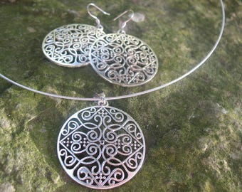 Stainless steel and silver necklace and earrings earings