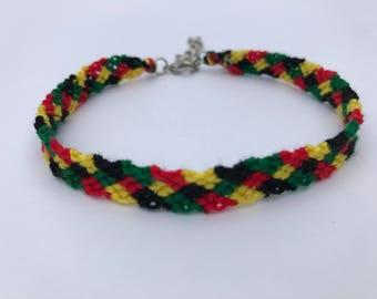 Four Stitch Braid Rasta Themed Embroidery Floss Woven Braided Friendship Bracelet