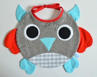 Terry bib baby boy OWL!
