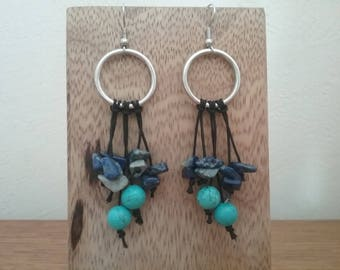 Earrings genuine Turquoise and lapis lazuli