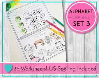 Alphabet Worksheets, Match and Colour, ABC Printables, Preschool & Kindergarten Learning, Teaching Education Resource, Kids Activities