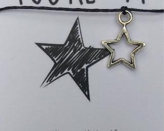 Handmade Well Done Star Wish String Friendship Bracelet Cord Card Gift