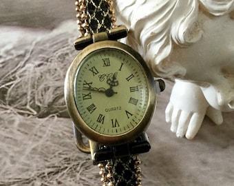 Bronze oval chic elegant ladies watch bracelet loop