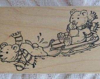 Penny Black Sledding Teddies 223J wood mounted pink rubber stamp