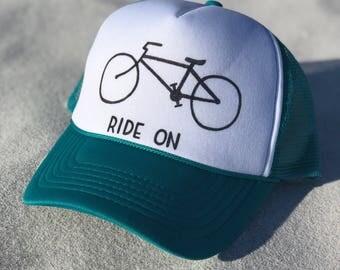 Ride On Bicycle Trucker Hat Custom Biking Snapback