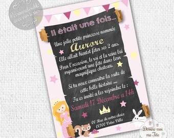 """Princess pink or purple"" personalized birthday invitation - printable personalized Invitation"