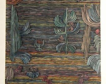 """Paul Klee large pochoir """"Jardin Exotique"""""""