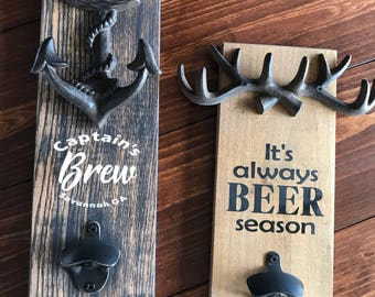 Bottle opener wall mount custom gift for dad gift for brother gift for sister garage decor living room wooden beer opener beer drinkers