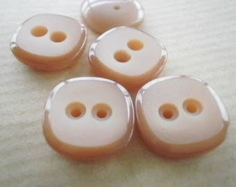 Set of 4 square two holes, brown color, size 13 mm buttons