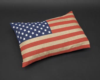 COUNTRY FARM-SET OF 2 BURLAP AMERICAN FLAG PILLOW COVERS