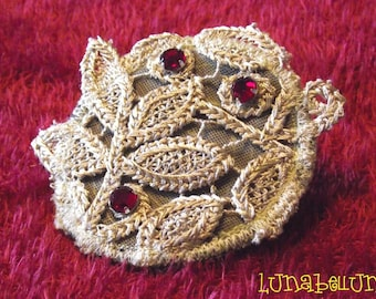 Brooch, textile jewelry round beige lace and Red rhinestones