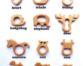 Wooden teethers Wood deer teether Wood elephant Wood Owl teether DIY teething toy Wooden teething animals Teether deer Baby teether wood toy