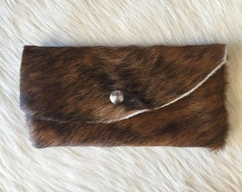 Brown Hair on Hide Leather Pouch