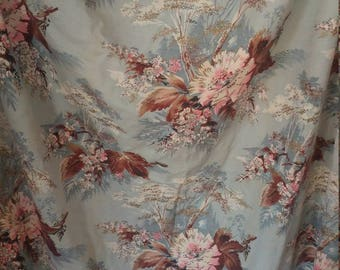 Vintage 1950s barkcloth fabric, unlined, 2 large panels