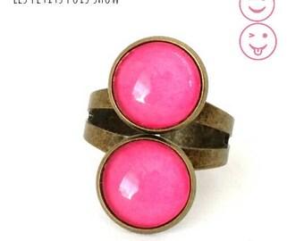 Ring double plain cabochons fuschia color
