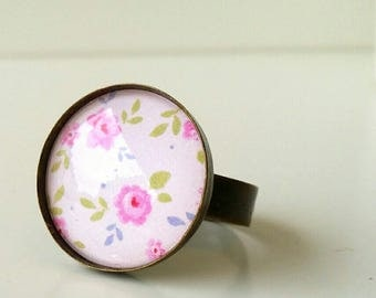 retro romantic vintage style round ring # PINK # cabochon LIBERTY COLLECTION