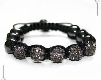 Black Diamond rhinestone Shamballa bracelet