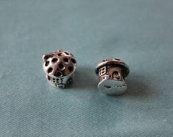 1 x mushroom house - bead fits European charm bracelet