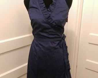 New Navy Blue Ruffle Wrap Dress