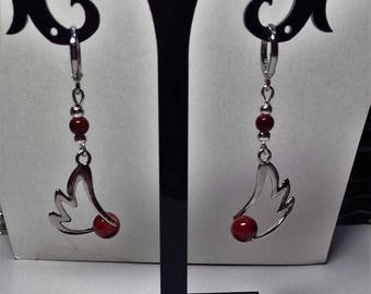 Wings and Red marbled beads earrings