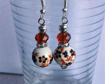 Porcelain and swarowski crystal earrings (1) Brown