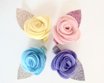 Cute felt flower hairlip for babies and girls.