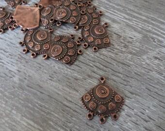 Connectors, triangle, ethnic, copper, vintage earring, charm, pendant chandelier