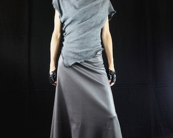 Grey long skirt effect small stone iridescent shiny