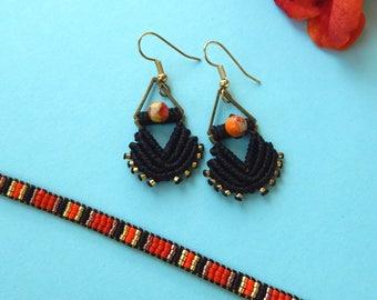 Jasper micro macrame black triangle earrings