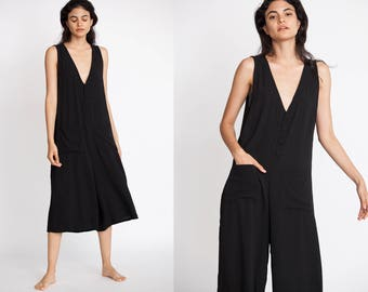 Sleeveless Button Down Culotte Jumpsuit