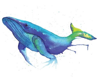 Whale Watercolour Painting Giclee Print A4