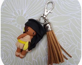 "Jewelry bag little Indian girl ""hair black, beige dress"""