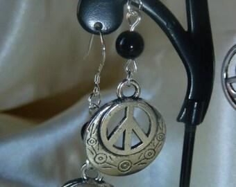 PEACE and genuine Obsidian gemstones earrings
