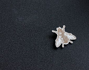 wooden engraved - model fly PIN.