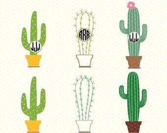 Cactus SVG, PNG, Ai, DXF Cutting Files, Cactus Vector, Cactus Clipart, Cactus Silhouette & Cricut Files, Cactus Monogram Svg, Cactus svg