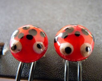 Earrings cocci spun glass
