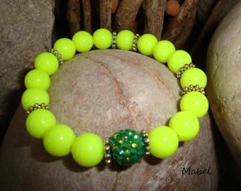 Neon yellow elastic bracelet, rhinestone and silver beads for women