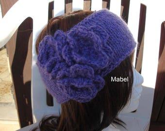 Headband for girl, knitting and crochet, flower, soft & warm