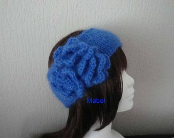 Headband blue for girl, knitting and crochet, flower, soft and warm